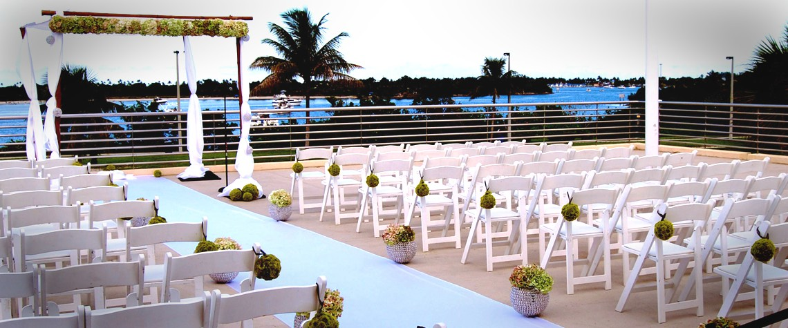 Wedding setup on the Bayview Terrace at FIU's Roz and Cal Kovens Conference Center